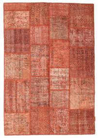 Patchwork Tapete 138X202 Moderno Feito A Mão Vermelho/Vermelho Escuro (Lã, Turquia)