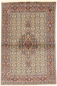 Moud Tapis 98X148 D'orient Fait Main Marron Clair/Gris Clair (Laine/Soie, Perse/Iran)