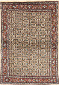 Moud Rug 98X147 Authentic  Oriental Handknotted Light Brown/Dark Brown (Wool/Silk, Persia/Iran)