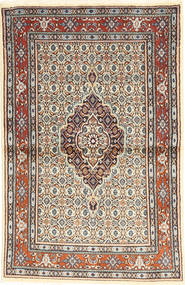 Moud Rug 98X149 Authentic  Oriental Handknotted Light Brown/Beige (Wool/Silk, Persia/Iran)