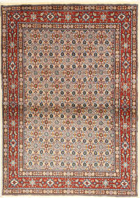Moud Rug 100X142 Authentic  Oriental Handknotted Light Brown/Dark Red (Wool/Silk, Persia/Iran)