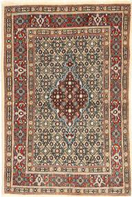 Moud Tæppe 82X121 Ægte Orientalsk Håndknyttet Mørkebrun/Mørkerød (Uld/Silke, Persien/Iran)