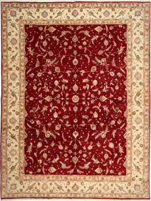 Tabriz 50 Raj Teppe 290X398 Ekte Orientalsk Håndknyttet Mørk Rød/Lysbrun Stort (Ull/Silke, Persia/Iran)