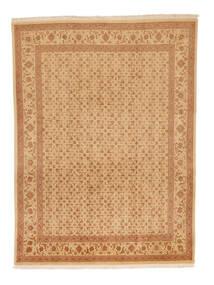Tabriz 50 Raj Tapis 216X289 D'orient Fait Main Marron Clair/Beige Foncé (Laine/Soie, Perse/Iran)