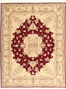 Tebriz 50 Raj Z Dodatkiem Jedwabiu Dywan 150X197 Orientalny Tkany Ręcznie Ciemnobeżowy/Ciemnoczerwony (Wełna/Jedwab, Persja/Iran)
