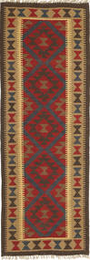 Kelim Maimane Matto 64X195 Itämainen Käsinkudottu Käytävämatto Tummanpunainen/Vaaleanruskea (Villa, Afganistan)