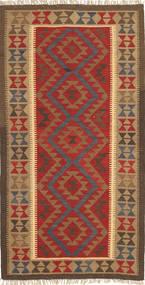 Kelim Maimane Matto 102X202 Itämainen Käsinkudottu Tummanpunainen/Ruskea/Vaaleanruskea (Villa, Afganistan)