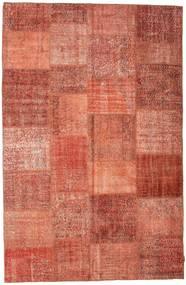 Patchwork Matto 196X302 Moderni Käsinsolmittu Punainen/Vaaleanpunainen (Villa, Turkki)