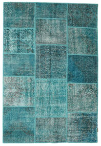 Patchwork Rug 158X230 Authentic  Modern Handknotted Dark Turquoise  /Turquoise Blue (Wool, Turkey)