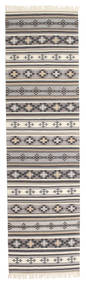 Kilim Cizre Rug 80X300 Authentic  Modern Handwoven Hallway Runner  Light Grey/Beige (Wool, India)