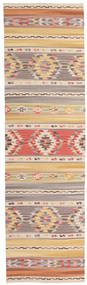 Kilim Nimrud Rug 80X300 Authentic  Modern Handwoven Hallway Runner  Light Grey/Beige (Wool, India)
