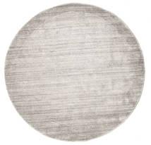 Bambou Soie Loom - Warm Gris Tapis Ø 150 Moderne Rond Gris Clair/Blanc/Crème ( Inde)