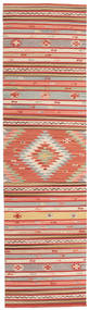 Kilim Mersin Rug 80X300 Authentic  Modern Handwoven Hallway Runner  Rust Red/Light Brown (Wool, India)