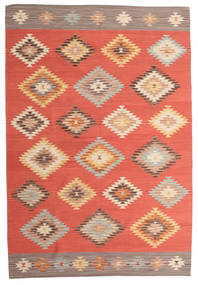 Kilim Denizli Rug 190X290 Authentic  Modern Handwoven Orange/Light Brown (Wool, India)