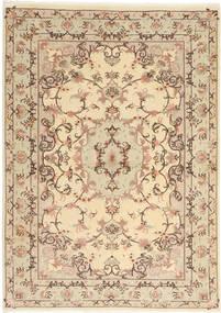 Tabriz 50 Raj Matta 103X147 Äkta Orientalisk Handknuten Ljusbrun/Beige (Ull/Silke, Persien/Iran)