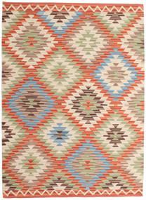 キリム ウサク 絨毯 140X200 モダン 手織り 薄茶色/ベージュ (ウール, インド)