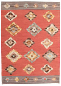 Kilim Denizli Rug 140X200 Authentic  Modern Handwoven Orange/Rust Red (Wool, India)