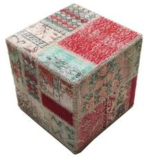 Patchwork Stool Ottoman Rug 50X50 Authentic Oriental Handknotted Square Light Grey/Dark Red (Wool, Turkey)