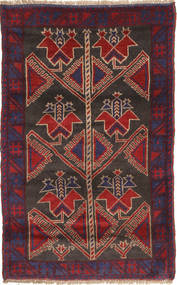 Baluch Rug 83X132 Authentic  Oriental Handknotted Dark Purple/Dark Red (Wool, Afghanistan)