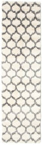 Berber Shaggy Illusia - Off White/Grey Rug 80X300 Modern Hallway Runner  Beige/Light Grey ( Turkey)