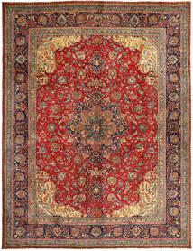Tabriz Matto 303X395 Itämainen Käsinsolmittu Tummanpunainen/Ruskea Isot (Villa, Persia/Iran)