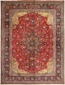 Tabriz Vloerkleed 303X395 Echt Oosters Handgeknoopt Donkerrood/Bruin Groot (Wol, Perzië/Iran)