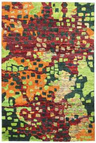 Davina Sari Silke Teppe 190X290 Ekte Moderne Håndknyttet Mørk Grå/Lysgrønn (Silke, India)