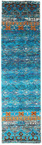 Quito - Turquoise Rug 80X300 Authentic  Modern Handknotted Hallway Runner  Blue/Dark Blue/Turquoise Blue (Silk, India)