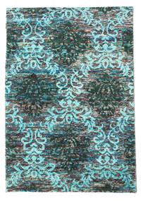 Kamala 絨毯 140X200 モダン 手織り ターコイズ/薄い灰色 (絹, インド)