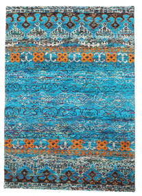 Quito - Turquoise Rug 140X200 Authentic  Modern Handknotted Turquoise Blue/Dark Blue (Silk, India)