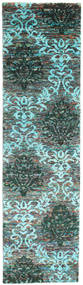 Kamala Tapis 80X300 Moderne Fait Main Tapis Couloir Gris Foncé/Bleu Turquoise (Soie, Inde)