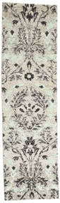 Lennox Rug 80X300 Authentic  Modern Handknotted Hallway Runner  Light Grey/Dark Beige (Silk, India)
