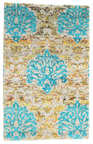Kandula Rug 100X160 Authentic  Modern Handknotted Dark Beige/Turquoise Blue (Silk, India)