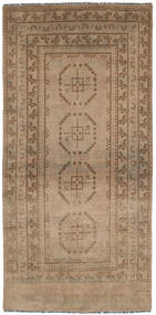 Afghan Rug 102X197 Authentic  Oriental Handknotted Brown/Light Grey (Wool, Afghanistan)