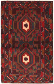 Baluch Rug 91X144 Authentic  Oriental Handknotted Dark Red/Black (Wool, Afghanistan)