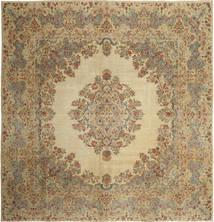 Kerman Teppe 308X318 Ekte Orientalsk Håndknyttet Kvadratisk Lysbrun/Lysgrønn Stort (Ull, Persia/Iran)