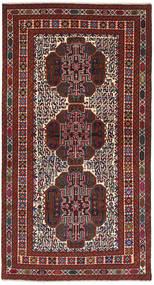 Baluch Rug 107X203 Authentic  Oriental Handknotted Dark Red/Black (Wool, Afghanistan)