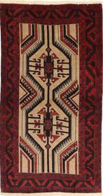 Beluch Teppe 100X180 Ekte Orientalsk Håndknyttet Mørk Brun/Mørk Rød/Lysbrun (Ull, Persia/Iran)