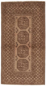 Afghan Rug 95X185 Authentic  Oriental Handknotted Brown/Dark Brown (Wool, Afghanistan)