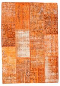 Patchwork Tæppe 160X230 Ægte Moderne Håndknyttet Orange/Lysebrun (Uld, Tyrkiet)