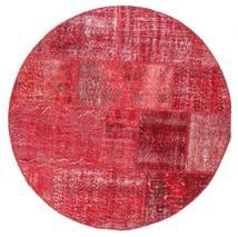 Patchwork Szőnyeg Ø 150 Modern Csomózású Kerek Piros/Rózsaszín/Rozsdaszín (Gyapjú, Törökország)
