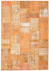 Patchwork Matto 202X297 Moderni Käsinsolmittu Oranssi/Vaaleanruskea/Tummanbeige (Villa, Turkki)