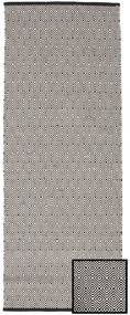 Diamond - Black Rug 80X250 Authentic  Modern Handwoven Hallway Runner  Light Grey/Dark Grey (Cotton, India)