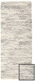 Hugo - Black/Grey Rug 80X250 Authentic  Modern Handwoven Hallway Runner  Light Grey/Beige ( India)