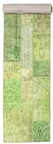 パッチワーク 絨毯 81X401 モダン 手織り 廊下 カーペット ライトグリーン/ホワイト/クリーム色 (ウール, トルコ)