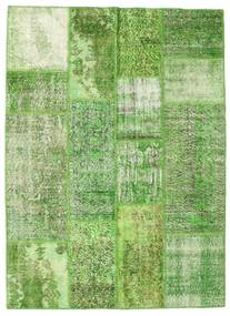 Patchwork Rug 140X192 Authentic  Modern Handknotted Light Green/Green  (Wool, Turkey)