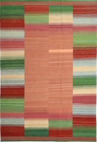 Kelim Moderni Matto 198X300 Moderni Käsinkudottu Tummanpunainen/Vaaleanruskea (Villa, Persia/Iran)