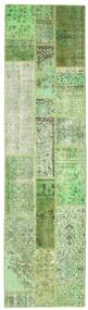 Patchwork Rug 81X304 Authentic  Modern Handknotted Hallway Runner  Pastel Green/Light Green (Wool, Turkey)