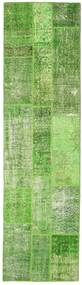 Patchwork Rug 81X299 Authentic  Modern Handknotted Hallway Runner  Light Green/Olive Green (Wool, Turkey)