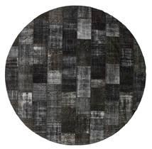 Patchwork Matto Ø 397 Moderni Käsinsolmittu Pyöreä Musta/Tummanharmaa Isot (Villa, Turkki)